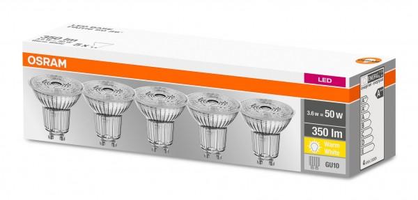 Osram LED Base PAR16 3,6-50W/827 GU10 36° 350lm warmweiß nicht dimmbar 5er Pack