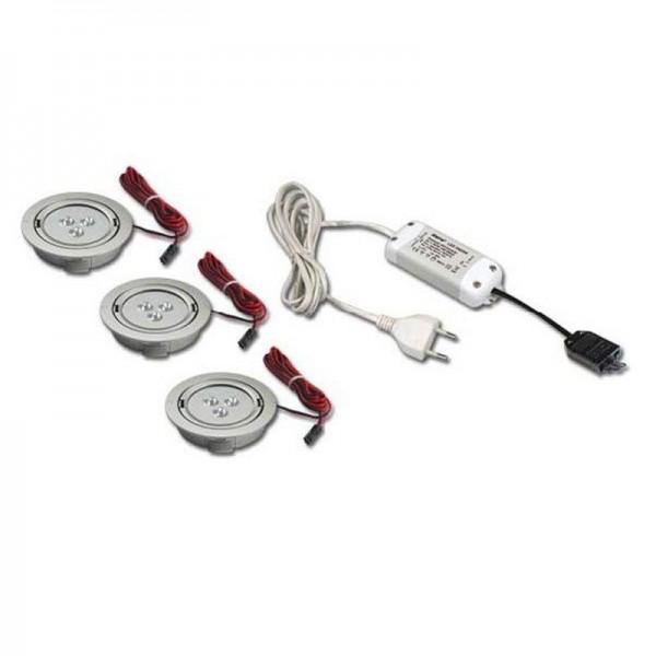 Hera 3er Set ARF 78-LED 2 3x1W warmweiß edelstahloptik + Trafo 350/9W 61050383208