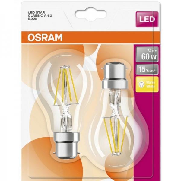 Osram LED Star Classic A Filament 7-60W/827 B22d klar 300° 806lm warmweiß nicht dimmbar 2er Blister