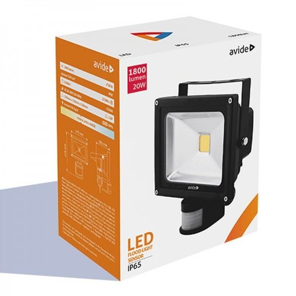 SONDERPOSTEN - Avide LED Flood Light IP65 20W NW neutralweiß 4000-45000K with PIR