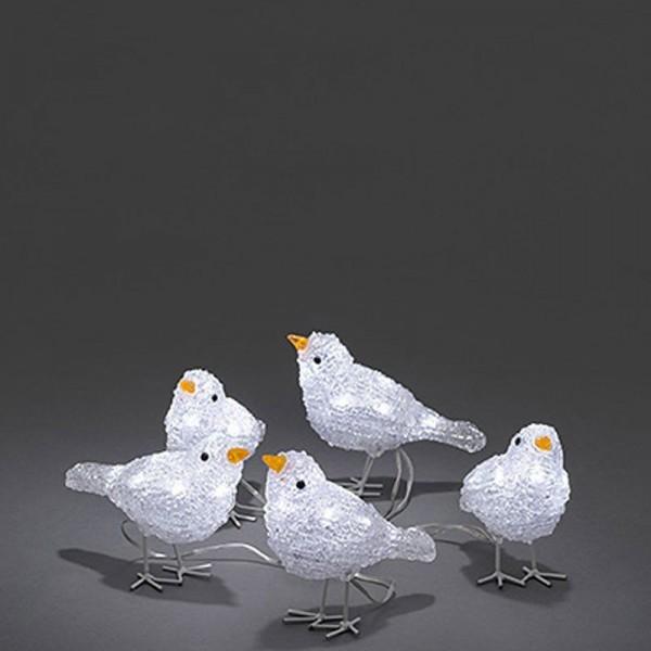 SONDERPOSTEN - Konstsmide LED Deko-Vögel aus Acryl inkl. Außentrafo 5er-Set mit je 8 Dioden Maße je 6x10x16cm kaltweiß