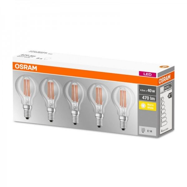 Osram LED Base Classic P Filament 4-40W/827 E14 klar 300° 470lm warmweiß nicht dimmbar 5er Pack