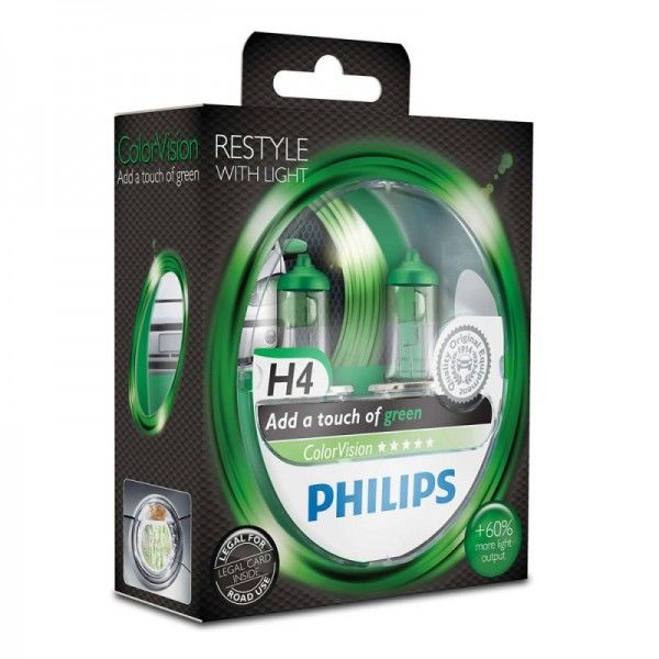 Philips ColorVision Green-Fahrzeugscheinwerferlampe H4 12V 60/55W (2er Blister)