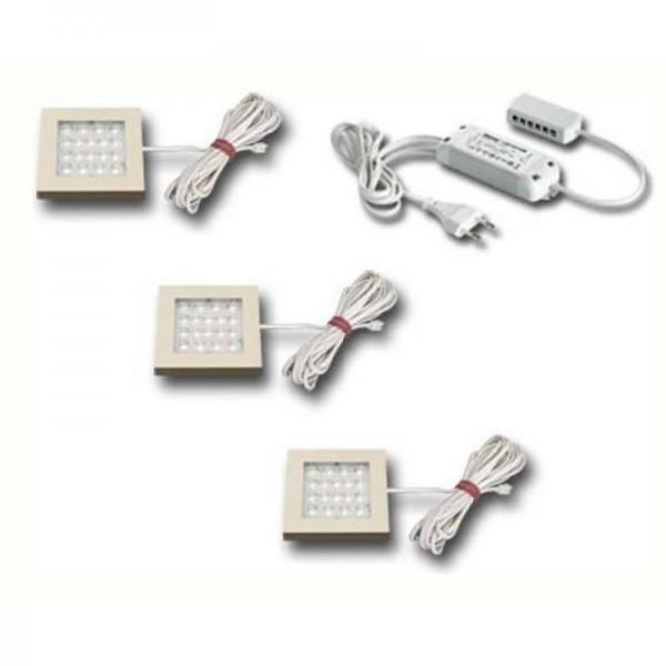 Hera 3er Set EQ-LED 1,2W warm weiß edelstahloptik + Trafo LED 24/15W 61054723802