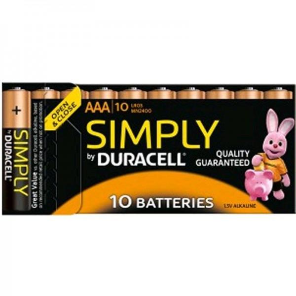 Duracell Batterien Simply MN2400 - AAA BPH 10er Blister