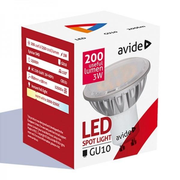SONDERPOSTEN - Avide LED Spot Alu 3W GU10 110° CW kaltweiß 6000-6500K