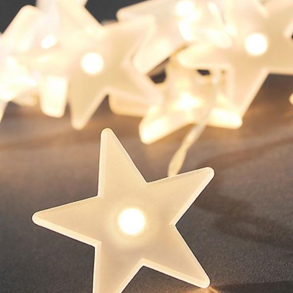 SONDERPOSTEN - Konstsmide LED Dekolichterkette gefrostete Sterne Gesamtlänge 200cm warmweiß batterie
