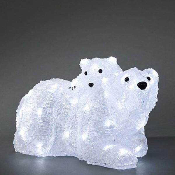 SONDERPOSTEN - Konstsmide LED Deko-Eisbären Mutter mit Kind aus Acryl 38x21x24cm (Zuleitung 500cm) mit 96 Dioden kaltweiß