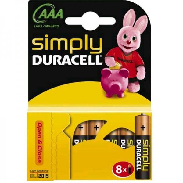 Duracell Batterien Simply MN2400 - AAA BPH 8er Blister