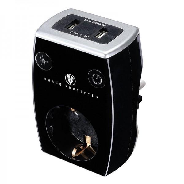 Masterplug Aufsatzsteckdose EU schwarz / 2x USB 5V 2.1A / Überspannungs-, Blitzschutz