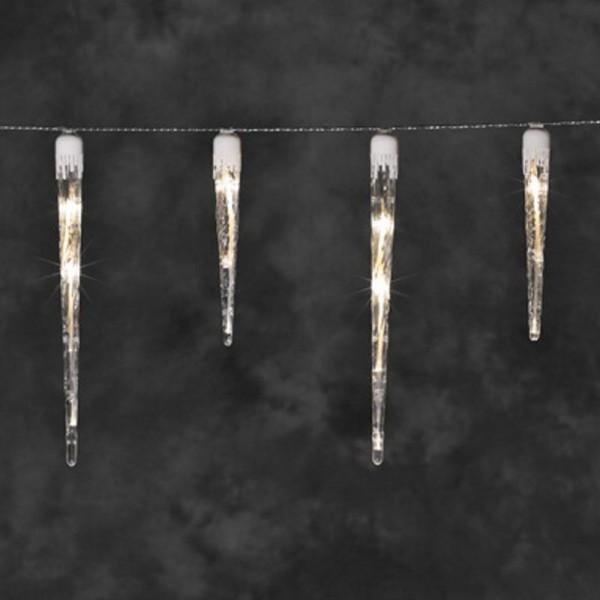 SONDERPOSTEN - Konstsmide LED Lichterkette mit 16 Eiszapfen inkl. Außentrafo Gesamtlänge 1375cm warm