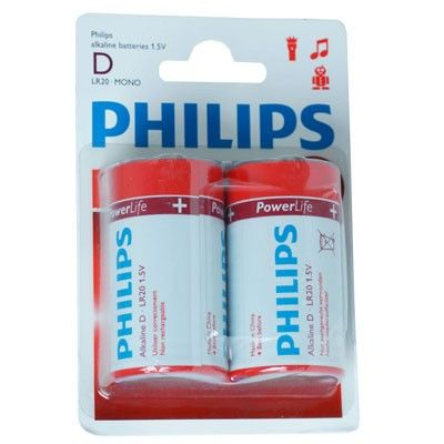 SONDERPOSTEN - Philips PowerLife Batterie D Alkaline LR20P2B/10 (2er Blister)
