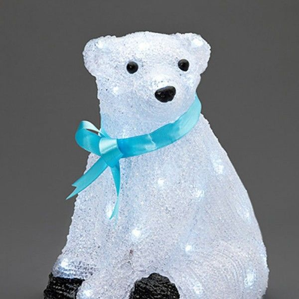 SONDERPOSTEN - Konstsmide LED Deko-Eisbär aus Acryl mit blauer Schleife 40 Dioden 23x23,5x28cm (Zuleitung 500cm) kaltweiß