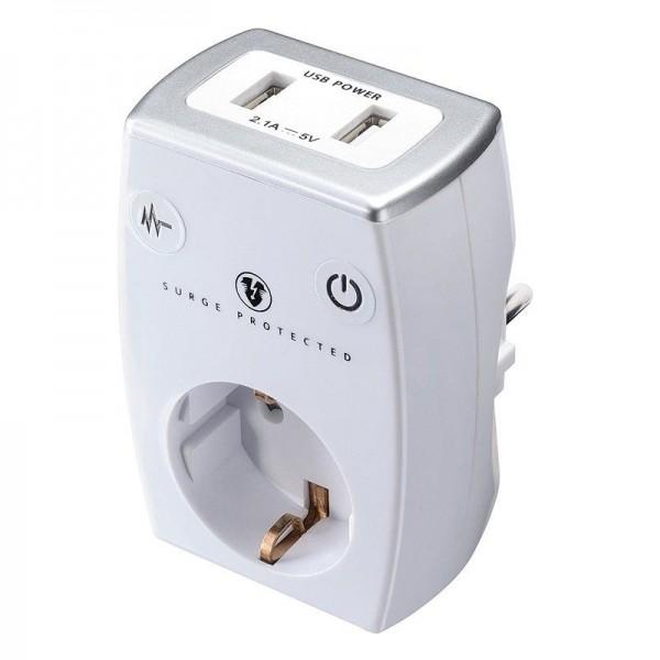 Masterplug Aufsatzsteckdose EU weiß / 2x USB 5V 2.1A / Überspannungs-, Blitzschutz